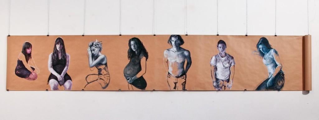 Seven Figures - 2012 - olio su carta - cm 100x 600