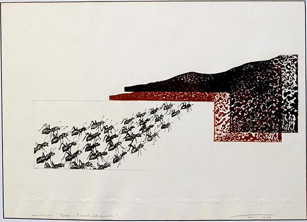 Psiche e il popolo delle formiche – 2013 – collografia-puntasecca su plexi – cm 60x78