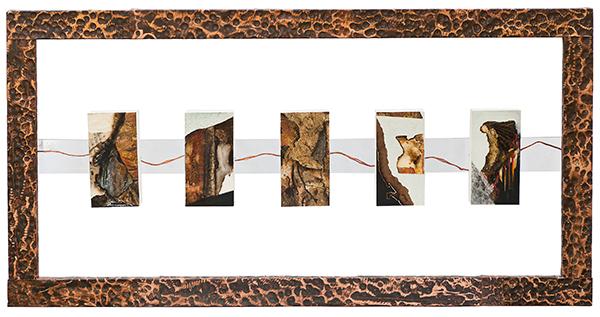 Teoria di un sogno – 2008 – Tecnica mista su tavole e cornice in rame martellato– cm 120x65