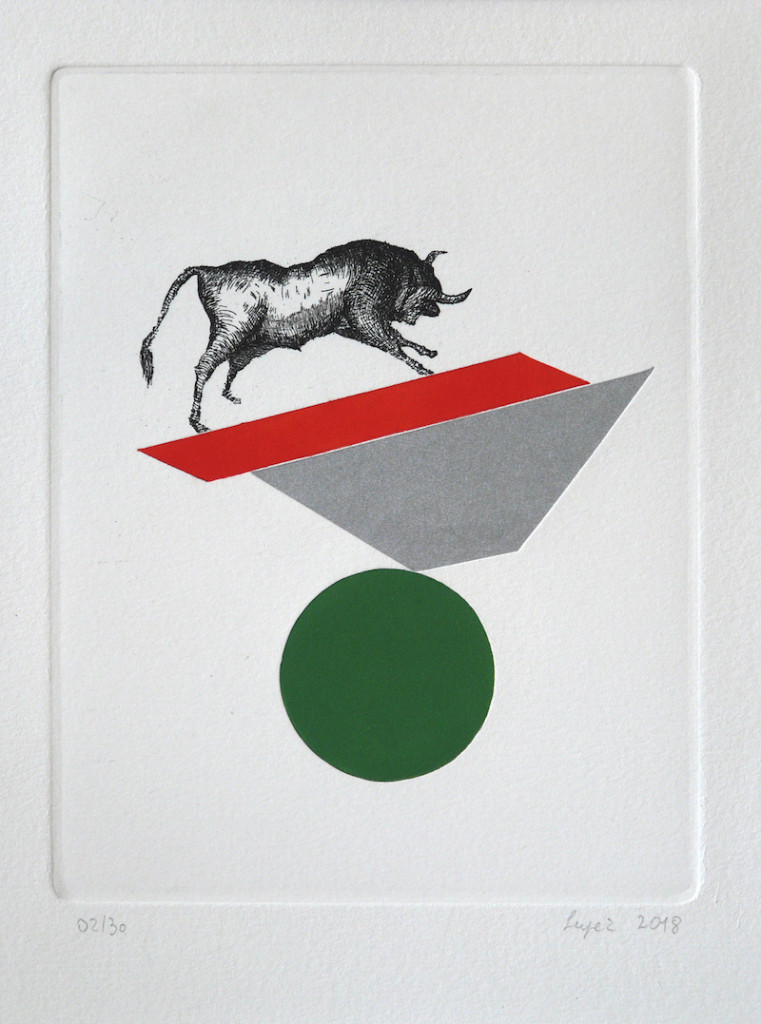 biart-gallery-lupez-equilibri-instabili-toro-2018-acquaforte-mascherine-rullate-185-x-144