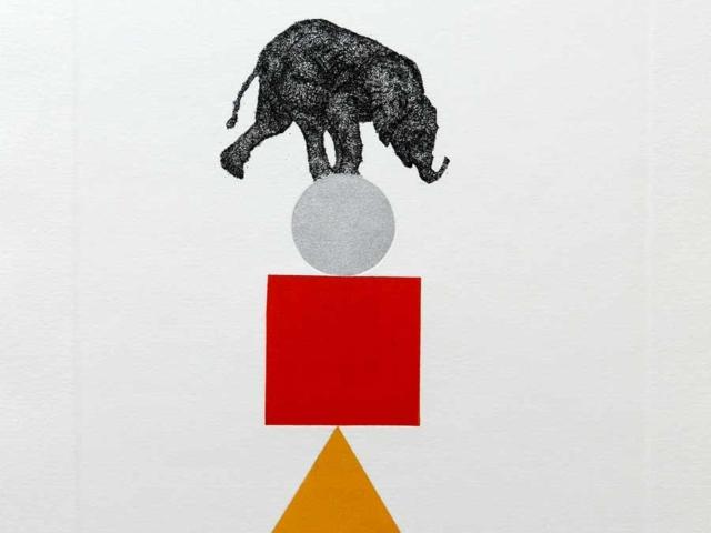 Lupez, Equilibri Instabili - Elefante, 2018, acquaforte + mascherine rullate, cm 20x15